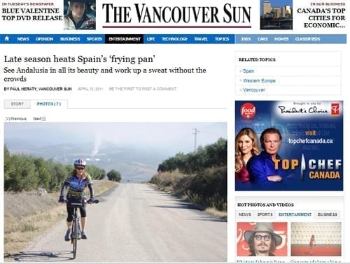 Vancouver Sun features Bike Tour in Spain