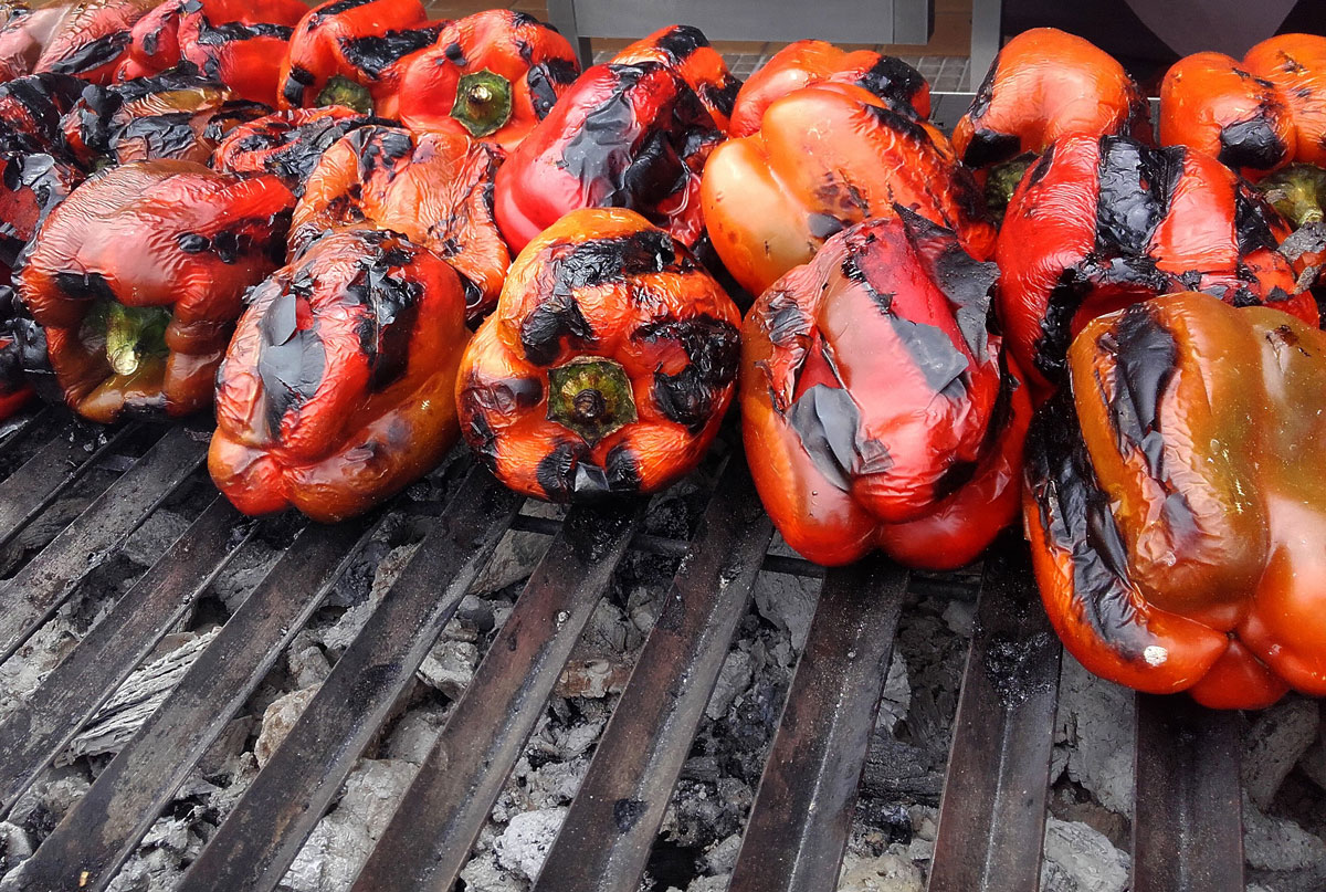 Peppers on a BBQ grill in Portugal