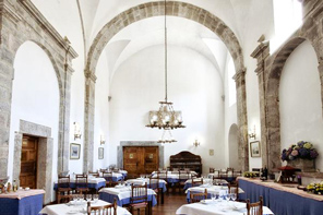 Medieval details on a luxury hotel restaurant in Llanes