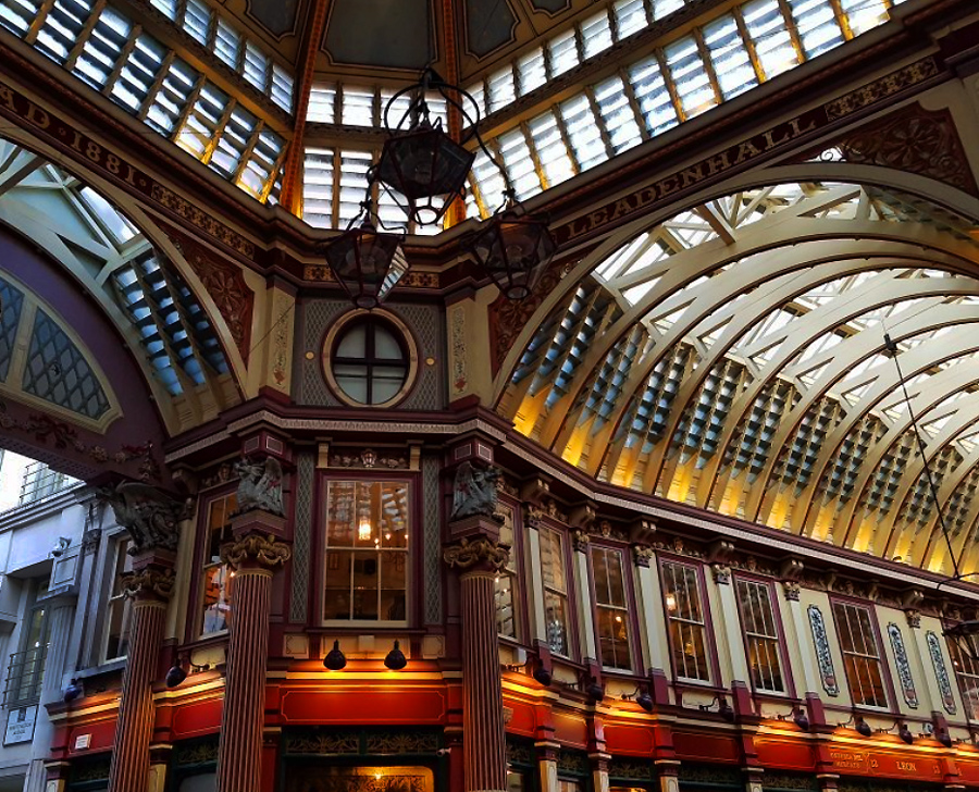 Exploring London England's East End - Beautiful Leadenhall Market - Harry Potter inspiration