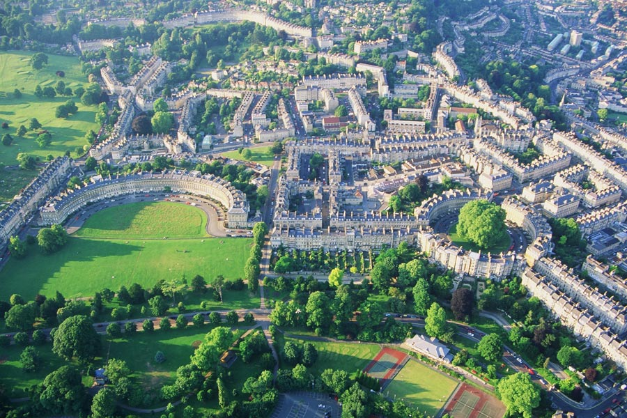 Aerial View of Bath Circus and City | Courtesy of VisitBath